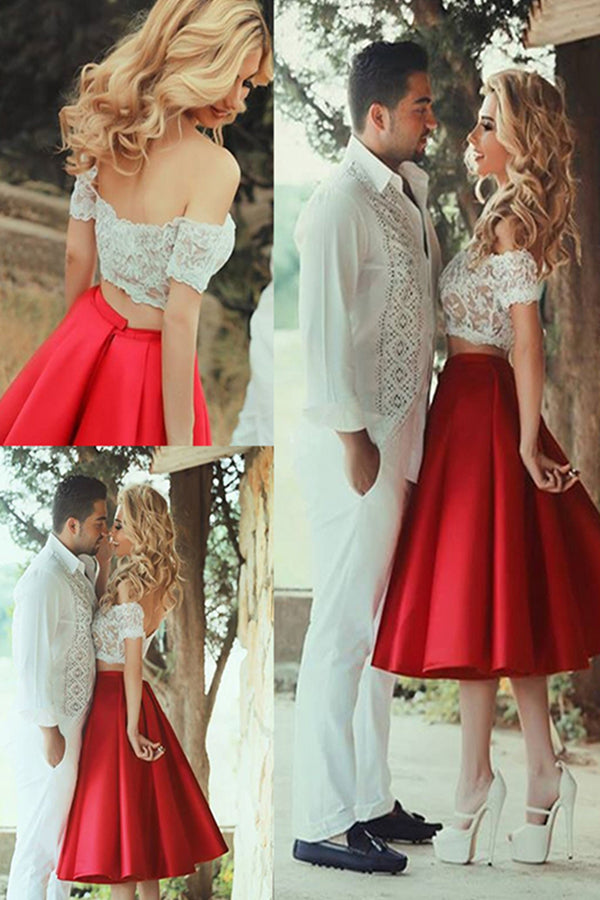Red Off-Shoulder Two Piece White Lace Short Prom Dresses, Tea-Length Homecoming Dress M319