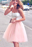 Spaghetti Straps Two Piece Blush Pink Homecoming Dress, Short Party Dress M323