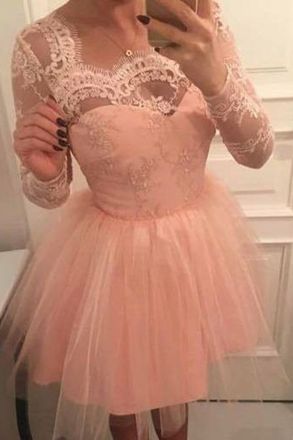 Pink Long Sleeves Short Prom Tulle Homecoming Dress with Appliques M324