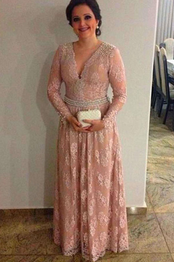 Blush Pink Lace Long Sleeves V-neck Waist Pearls Mom of the Bride/Groom Dress, M39 - Ombreprom