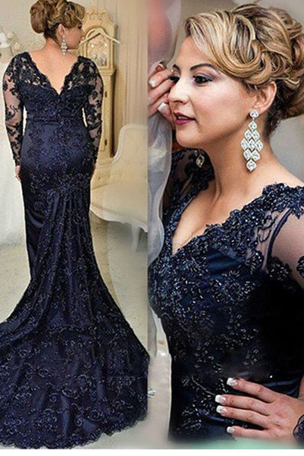 Navy Blue Lace Long Sleeves V-neck V-back Mother of the Bride/Groom Dress, M40