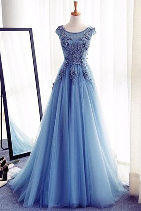 Princess Royal Blue A Line Boat Prom Dress,Floor Length Layers Tulle Mid Back Floral Evening Dress