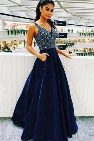 Royal Blue A-line Beading V Neck Satin Long Prom Dress, Graduation Party Dress P574