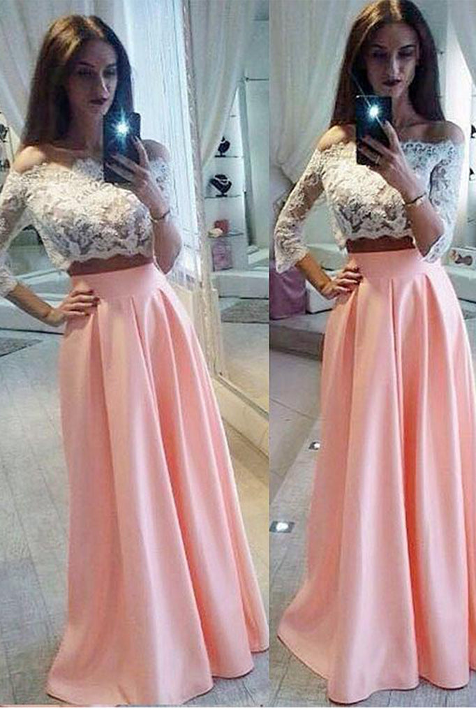 A-line Off-the-Shoulder 3/4 Sleeve Two Pieces White Lace Pink Satin Long Prom Dresses P575 - Ombreprom