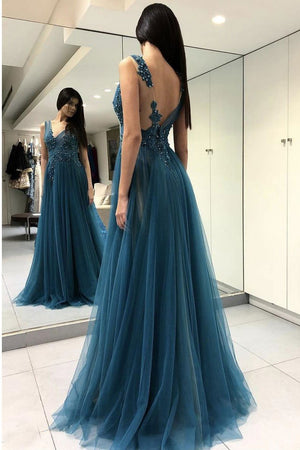 Blue Scoop Appliqued Sexy Side Slit Long Formal Lace Prom Dresses P571 - Ombreprom