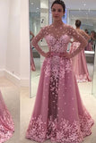 A-Line Pink Long Sleeves Illusion Bodice 2 In 1 Tulle Convertible Prom Dress P572 - Ombreprom