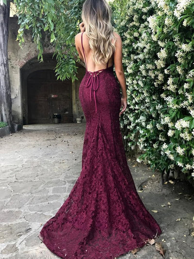 Burgundy Mermaid Spaghetti Straps Plunge V-Neck Lace Backless Prom Dress P573 - Ombreprom