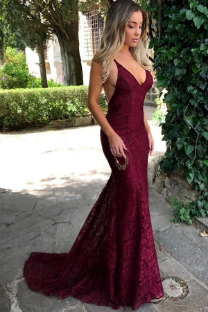 448eeb39b8 Burgundy Mermaid Spaghetti Straps Plunge V-Neck Lace Backless Prom Dress  P573 - Ombreprom