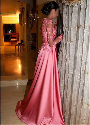 Pink Satin Long Prom Dress Ball Gown Jewel With Lace Long Sleeves P576
