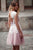 Pink A-Line Jewel Neck Lace Tulle Homecoming Dresses, Short Prom Dress P577