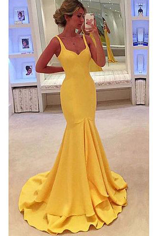 Yellow Satin Scoop Neckline Mermaid Spaghetti Strap Prom/Evening Dresses P578