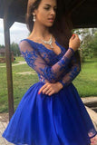 Royal Blue A-Line Long Sleeves V-Neck Illusion Lace Short Prom Dress, Party Dress P580