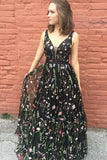 A-Line Plunge Neckline Black Floral Print Lace Prom Dress, Party Dress P587 - Ombreprom