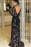 Long Sleeves Mermaid/Trumpet Black Floral Print Backless Prom Dress, Party Dress P588