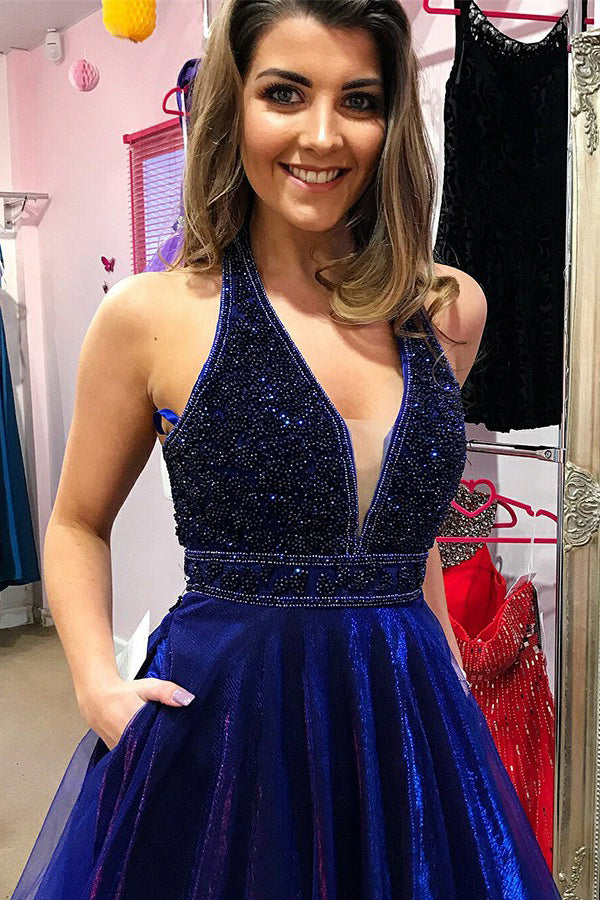 Modest Unique Royal Blue And Purple V-neck Beading Long Prom Dresses With Pockets P590