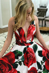 A-Line Plunge V-Neck Criss-Cross Back Rose Floral Satin Prom Dress P592 - Ombreprom