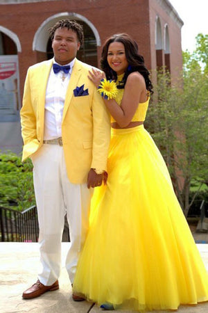 32f9cd237ac Sparkly Yellow A-line Halter Two Piece Keyhole Back Prom Dress ...