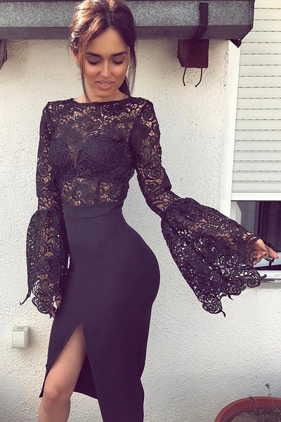 Black Long Horn Sleeves Lace Bodice Split-Side Stretch Satin Short Prom Dress, Party Dress P596 - Ombreprom