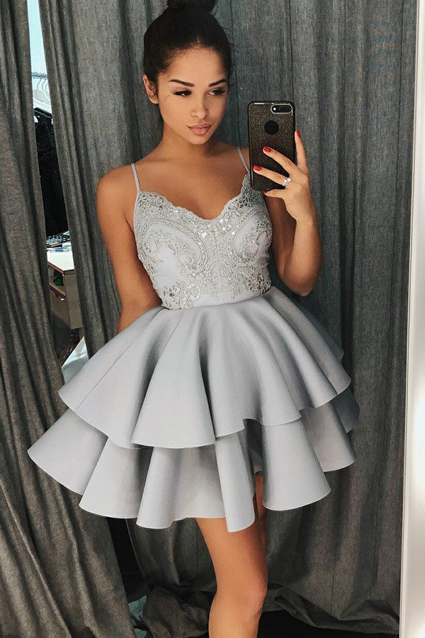 A-Line Spaghetti Straps Lace Short Layers Satin Homecoming Dress, Party Dress P597 - Ombreprom