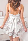 Spaghetti Straps Short Prom Dress Lace Sash Homecoming Party Dress With Bowknot P598