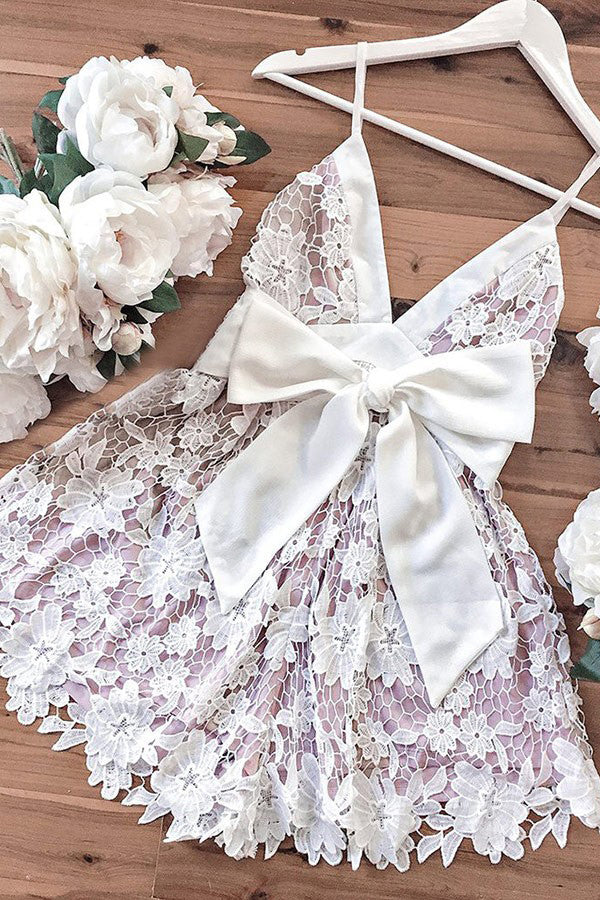 Lilac Spaghetti Straps Short Prom Dress Lace Sash Homecoming Party Dress With Bowknot P598