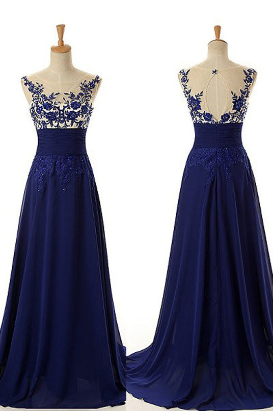 Glamor A-Line Scoop Royal Blue Prom Dress with Appliques Beading, Formal Dress P599