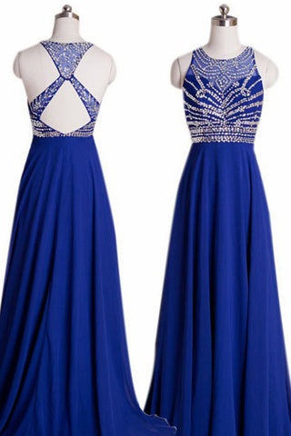 Elegant Scoop Neck Royal Blue Beaded Criss-cross Back Chiffon Prom Dress, Evening Dress P600