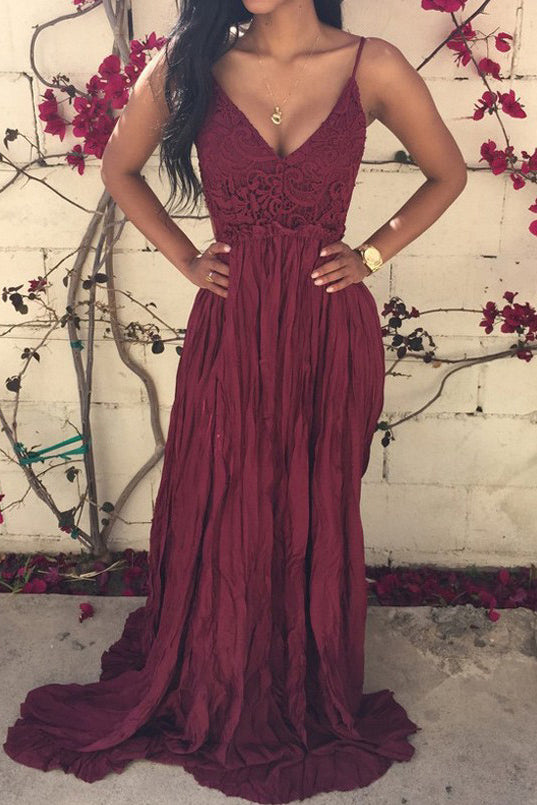 Sexy Burgundy V-neck Lace Spaghetti-straps Ruched Backless Prom Dress P602