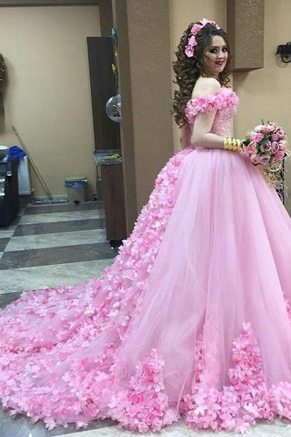 Pink Off-the-Shoulder Ball Gown Quinceanera Dress with Flowers Applique Q101
