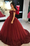 Burgundy Ball Gown Off-the-Shoulder Tulle Quinceanera Gown, Sweet 16 Dress with Appliques Q102 - Ombreprom
