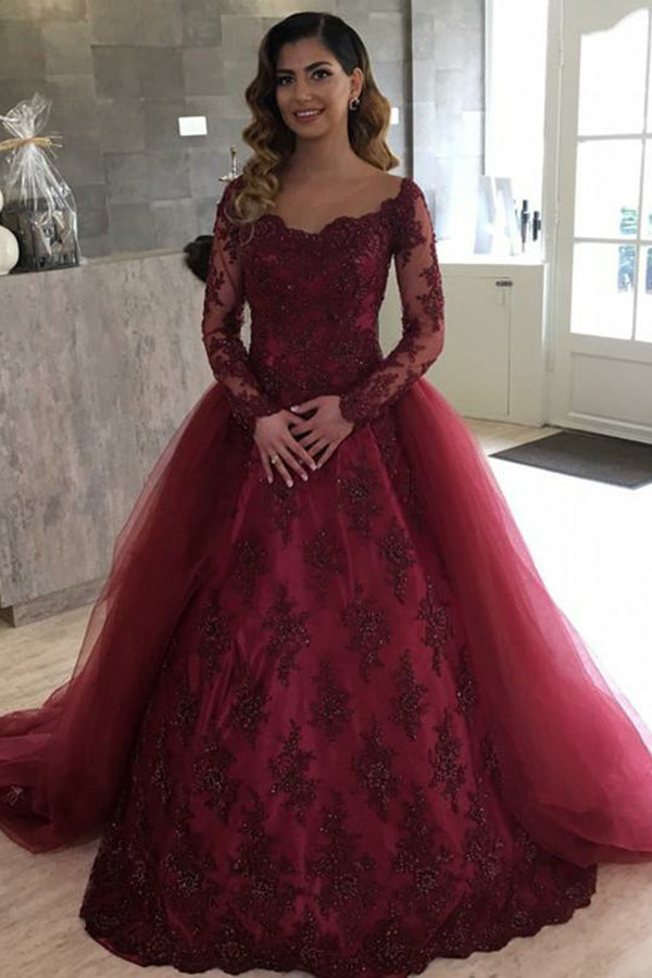 Burgundy Long Sleeve Ball Gown Illusion Bateau Quinceanera Dance Dress with Beaded Q106 - Ombreprom