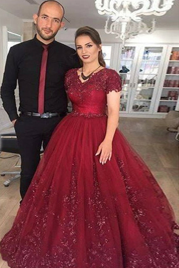 Burgundy Ball Gown V Neck Short Sleeves Tulle Quinceanera Dress