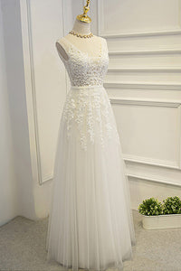 Simple A-line Lace Tulle V-Neck Wedding Dress,Appliques Open Back Cheap Wedding Dress