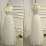 Simple A-line Lace Tulle V-Neck Wedding Dress,Appliques Open Back Cheap Wedding Dress OMW10 - Ombreprom