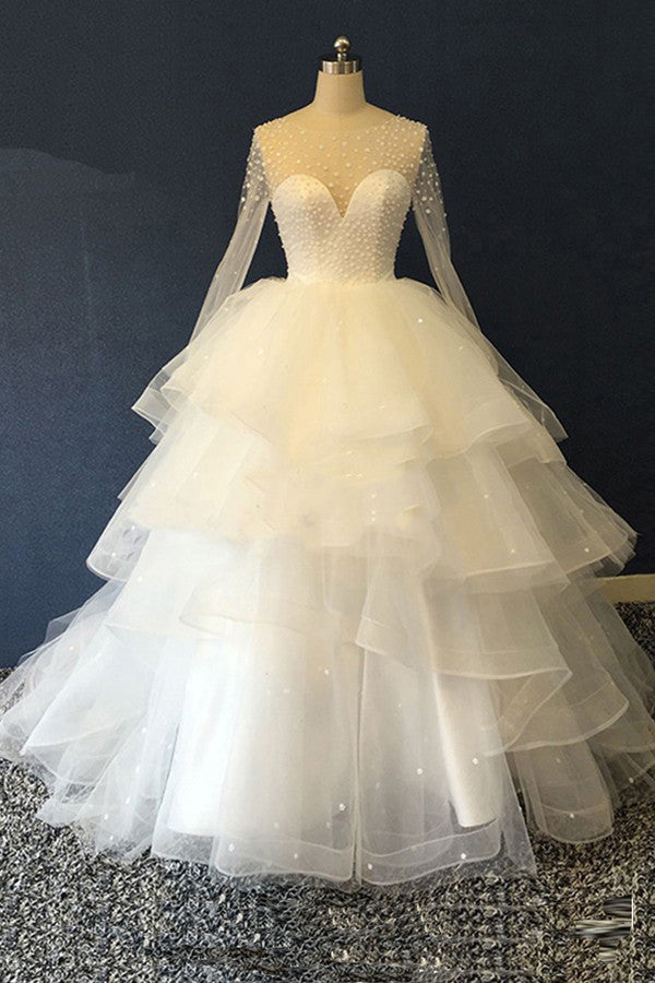 Unique Organza Long Sleeves Multi-layer Ball Gown,White Scoop Beaded Wedding