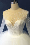 Unique Organza Long Sleeves Multi-layer Ball Gown,White Scoop Beaded Wedding  OMW11