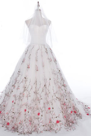 Embroidered Wedding Dress.Embroidered Wedding Dress White Tulle Long A Line Wrapped Chest Wedding Gown Omw12