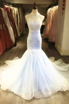Charming Floral Organza Long Train White Tulle Mermaid Strapless Wedding Dresses OMW13 - Ombreprom