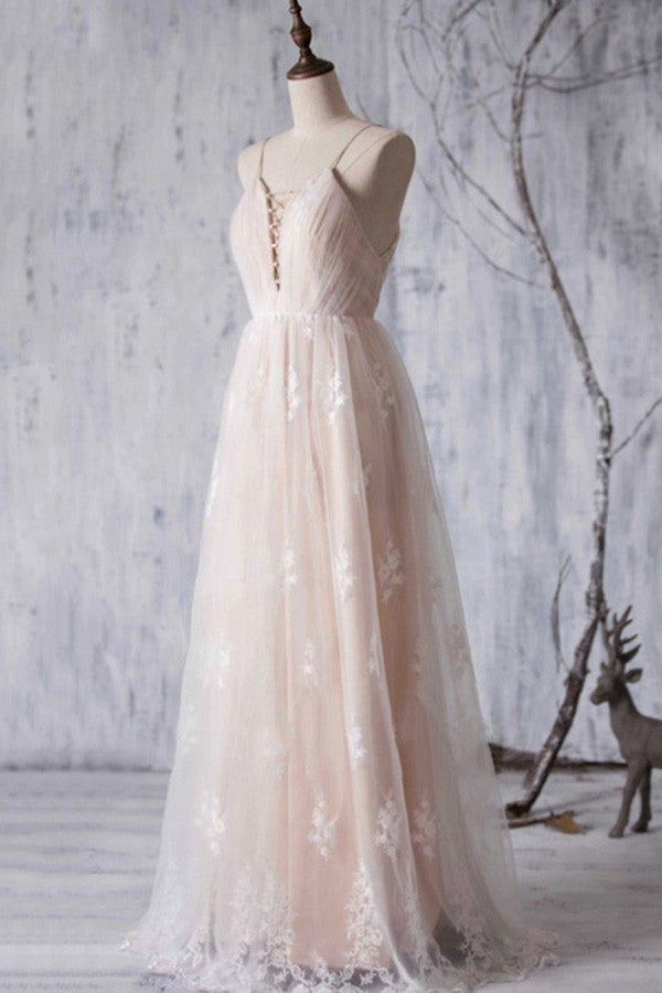 Floral A-Line V-Neck Tulle Floor-Length Backless Wedding Dress,Spaghtti Strap Appliques Bridesmaid Dress