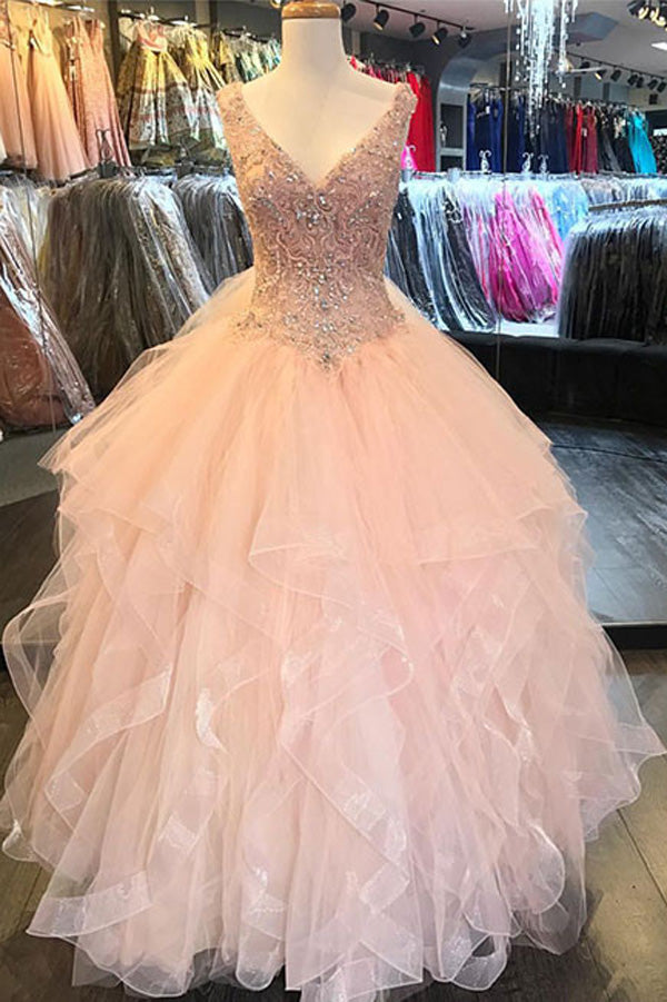 Luxury Ruffles Sequin Beads Prom Dress,V-Neck Tulle Floor-Length Wedding Gowns OMW15