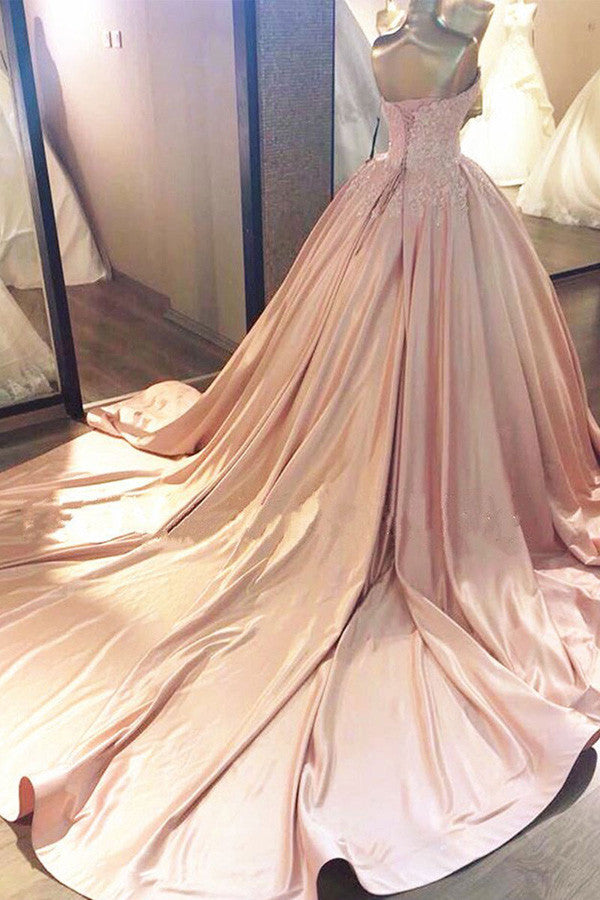 Ruffles Appliques Wedding Dress,Wrapped Chest Strapless Long Train Stain Wedding Gowns OMW16 - Ombreprom