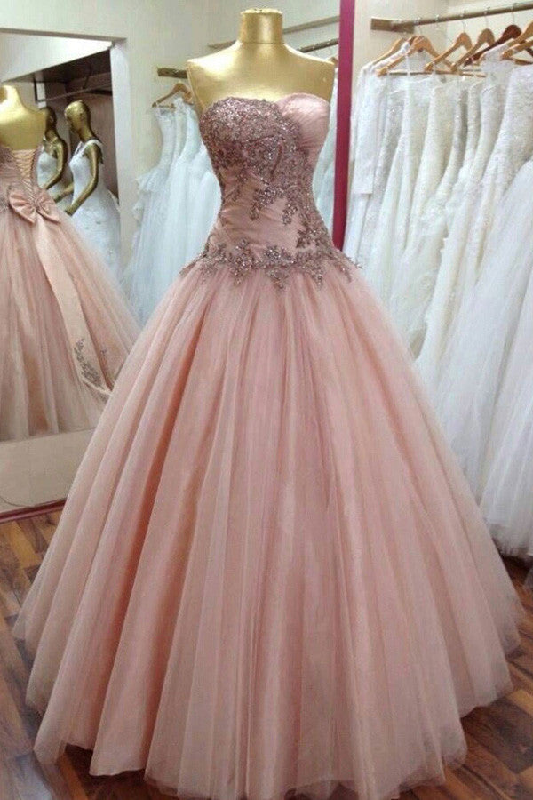 Sweetheart Ruffles Appliques Sequins Wedding Dress,Strapless Bodice Long Train Lace Wedding Gowns