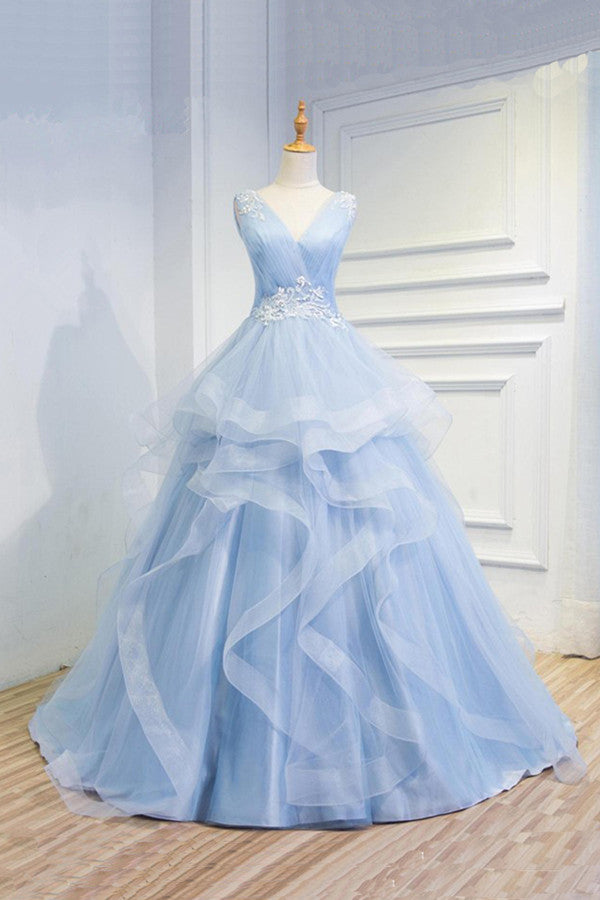 Sweetheart Baby Blue Organza  V neck Wedding Gowns,Ruffles Appliques Wedding Dress