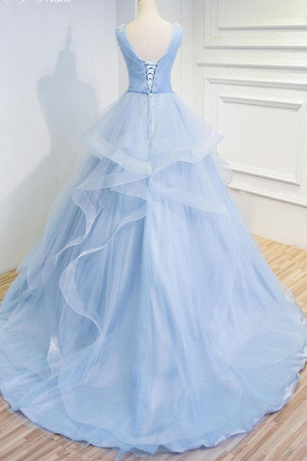 Sweetheart Baby Blue Organza  V neck Wedding Gowns,Ruffles Appliques Wedding Dress,OMW18