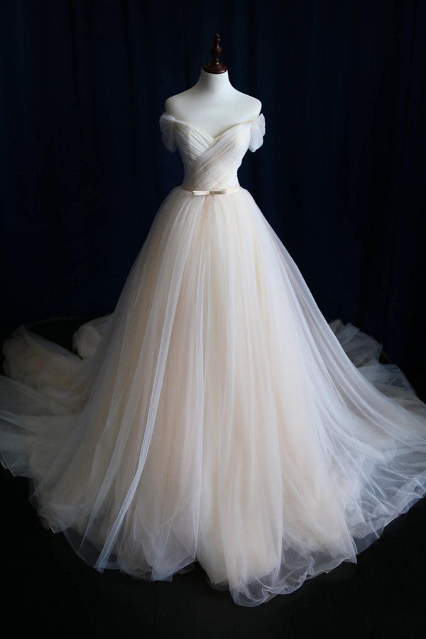 Elegant Off-shoulder Tulle Pleat Wedding Gowns,Sweep Train V Neck Wedding Dress