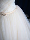 Elegant Off-shoulder Tulle Pleat Wedding Gowns,Sweep Train V Neck Wedding Dress,OMW20 - Ombreprom