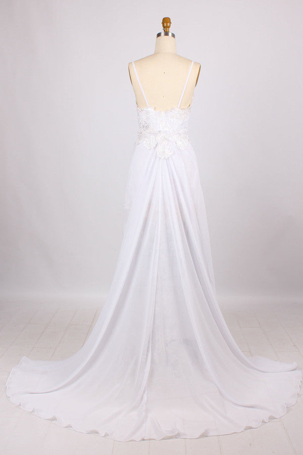 Popular Sphagetti Lace Wedding Dress,Sweep Train Open Back Beach Wedding Dress With Side Slit,OMW21 - Ombreprom