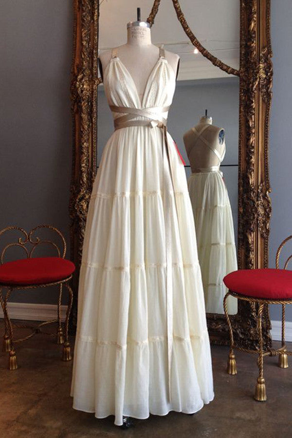 Simple Deep V Neck Wedding Gowns,Tie Back Beach Wedding Dress With Ribbon Belt