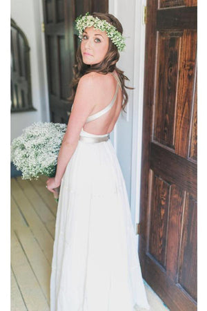Simple Deep V Neck Wedding Gowns,Tie Back Beach Wedding Dress With Ribbon Belt OMW22 - Ombreprom