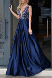 Sexy V Neck Prom Dress,Floor Length V Back Beading Evening Dress